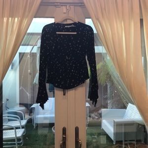 Black peasant blouse with white flower detail